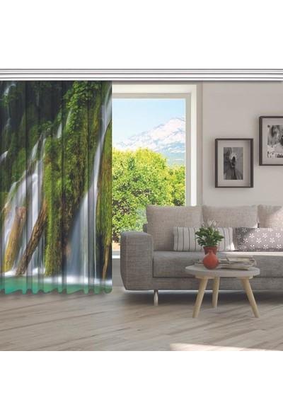 Henge Yeşil Orman Şelale Doğa Manzara Desenli Fon Perde 150 x 160 cm