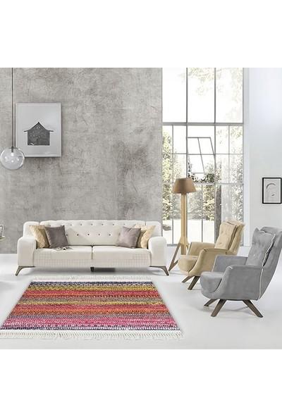 Henge Püsküllü Modern Zigzag Desen Baskılı Lacivert Sarı Pembe Kilim HG054 80 x 150 cm