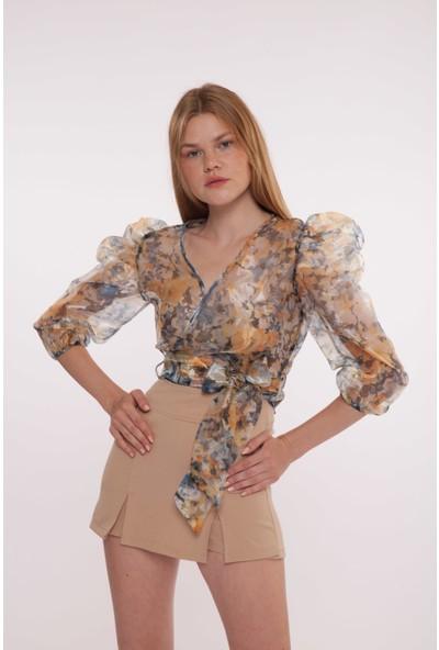 Yellowish Desenli Organze Gömlek Bluz