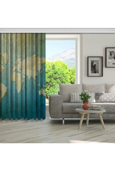 Henge Kağıt Arka Plan Dünya Harita Desenli Fon Perde 150 x 160 cm
