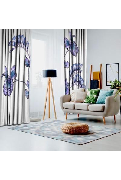 Henge Lila ve Morlu Uzun Yapraklar Desenli Fon Perde 150 x 160 cm