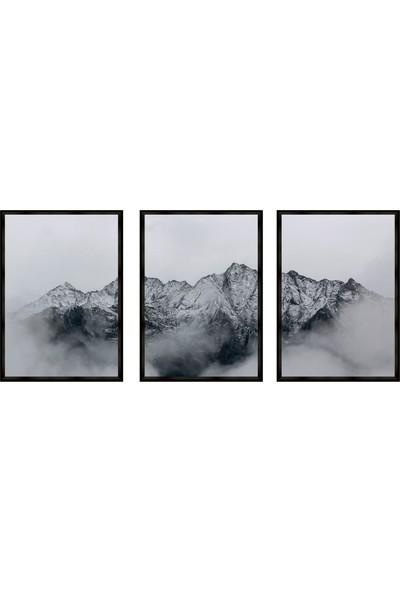Çerçeve Home Üçlü Çerçeveli Poster Seti Dağ Zirvesi