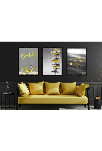 Çerçeve Home Üçlü Çerçeveli Poster Seti Sarı Siyah