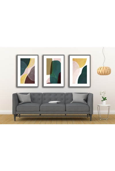 Çerçeve Home Üçlü Çerçeveli Poster Seti Abstract Shapes 3
