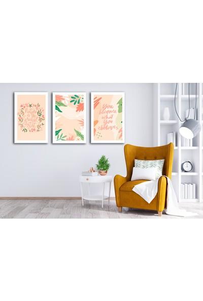 Çerçeve Home Üçlü Çerçeveli Poster Seti Colored Flowers
