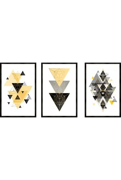 Çerçeve Home Üçlü Çerçeveli Poster Seti Colored Triangles