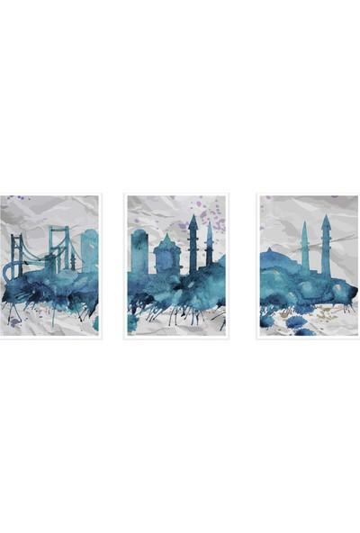 Çerçeve Home Üçlü Çerçeveli Poster Seti Istanbul Mavi