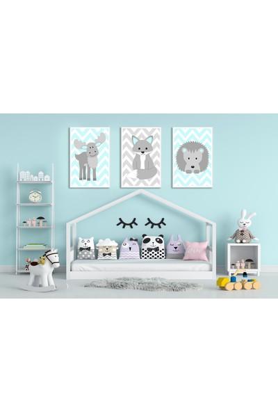 Çerçeve Home Üçlü Çerçeveli Poster Seti Animal Shapes