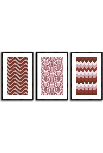 Çerçeve Home Üçlü Çerçeveli Poster Seti Patterns