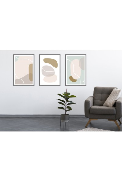 Çerçeve Home Üçlü Çerçeveli Poster Seti Abstract Shapes 4