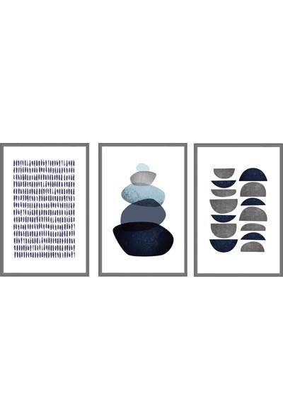 Çerçeve Home Üçlü Çerçeveli Poster Seti Lines & Stones