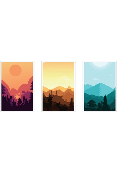 Çerçeve Home Üçlü Çerçeveli Poster Seti Sunset