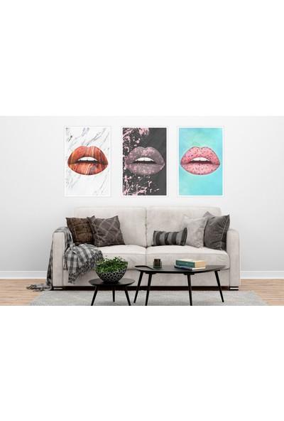 Çerçeve Home Üçlü Çerçeveli Poster Seti Lips