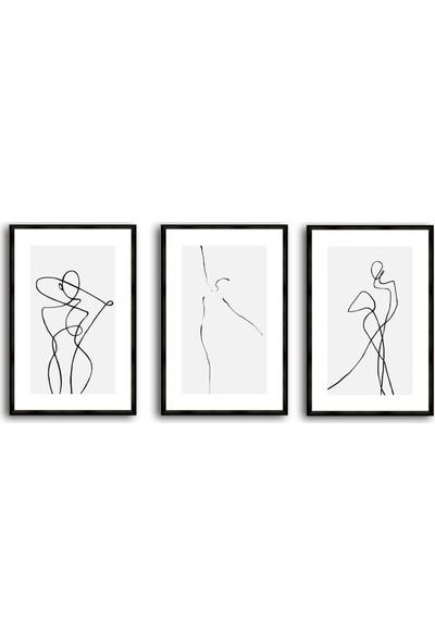 Çerçeve Home Üçlü Çerçeveli Poster Seti Abstract Drawing