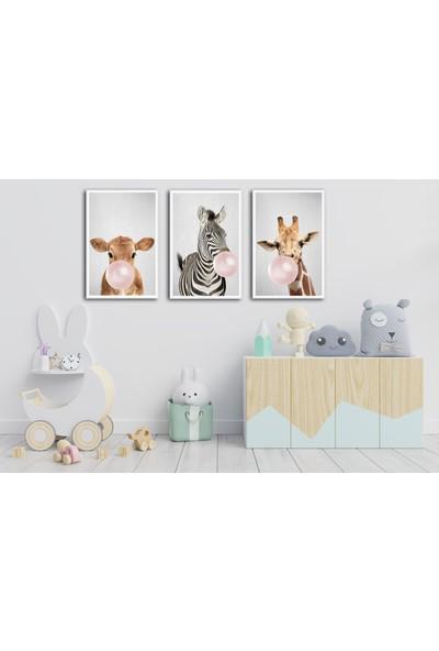 Çerçeve Home Üçlü Çerçeveli Poster Seti Animals Big Bubble