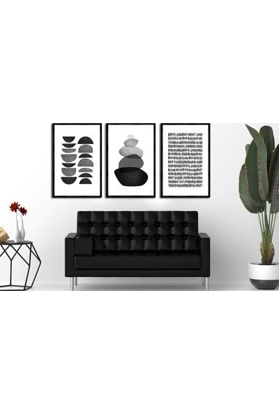 Çerçeve Home Üçlü Çerçeveli Poster Seti Lines & Stones 2