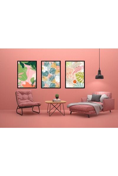 Çerçeve Home Üçlü Çerçeveli Poster Seti Renkli Çiçekler