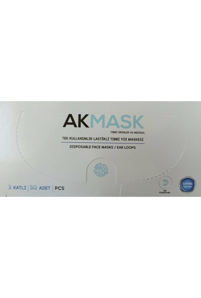 Ak Mask Tek Kullanımlık 3 Katlı Telli Cerrahi Maske 50 Adet 2'li
