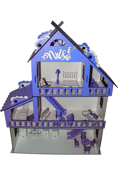 İpek Yolu Ahşap Çocuk Oyun Evi 85cm ve 28 Mobilyalı