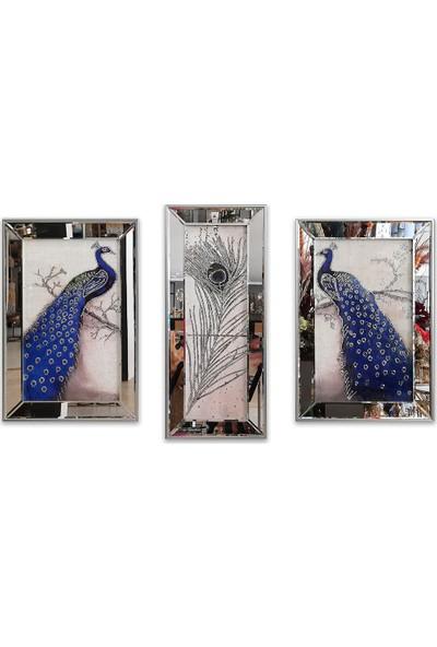 Atl Dekor Tavus Kuşu Mavi 3'lü Takım
