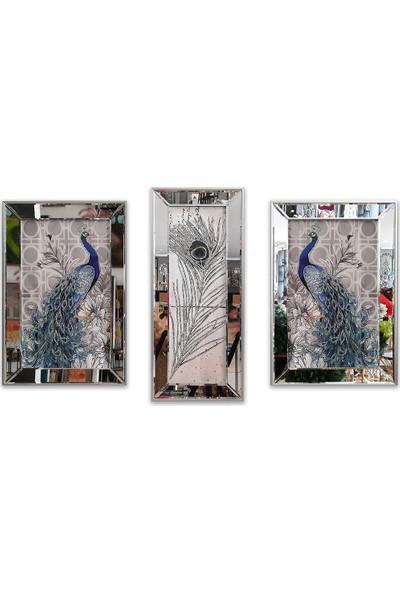 Atl Dekor Tavus Kuşu Çiçekli 3'lü Takım