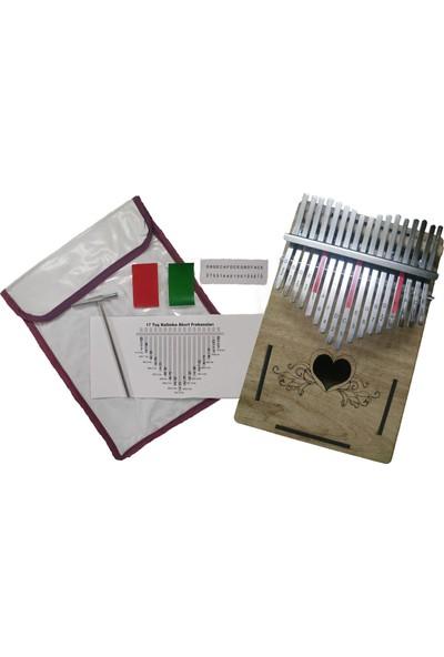 Kalimba Kalp Model 17 Tuşlu Pro Kalimba + Çekiç + Kılıf + Nota Sticker