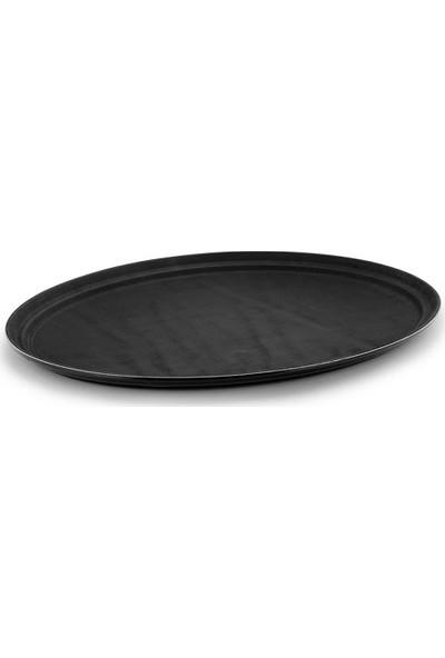 Globy Oval Kaymaz Tepsi Siyah 56X68.5 cm