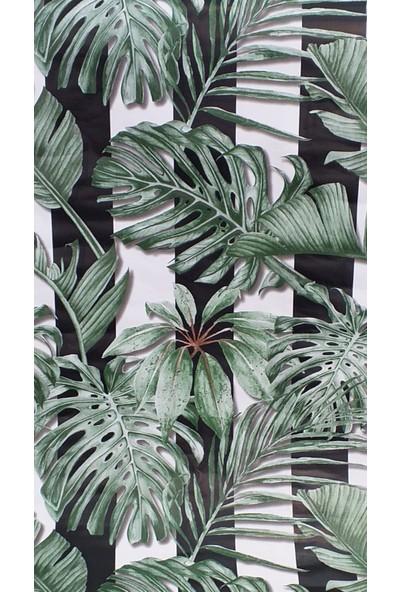 Wall 212 Siyah Beyaz Çizgili Tropik Desenli Duvar Kağıdı