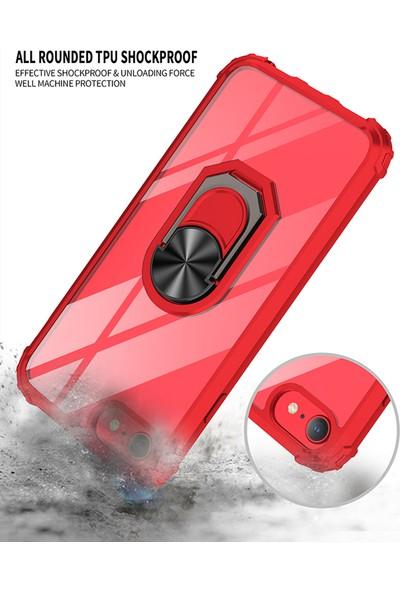 Vendas Apple iPhone 7 Mars Serisi Yüzüklü Arkası Şeffaf Kenarları Güçlendirilmiş Renkli Silikon Kılıf - Siyah