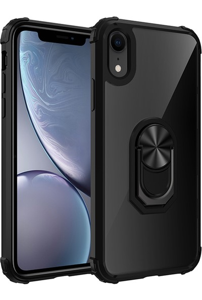 Vendas Apple iPhone Xr Mars Serisi Yüzüklü Arkası Şeffaf Kenarları Güçlendirilmiş Renkli Silikon Kılıf - Siyah