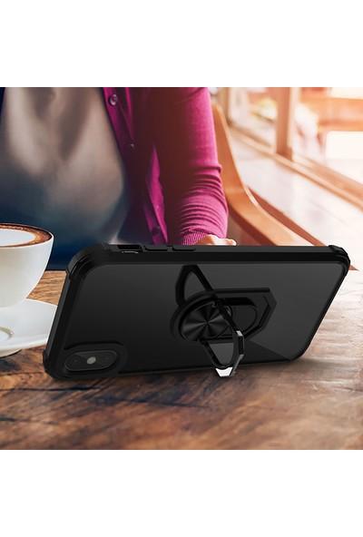 Vendas Apple iPhone Xs Max Mars Serisi Yüzüklü Arkası Şeffaf Kenarları Güçlendirilmiş Renkli Silikon Kılıf - Kırmızı