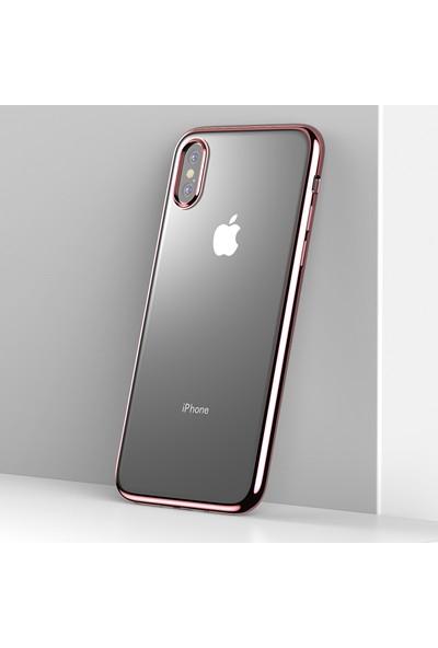 Vendas Apple iPhone Xs Max Benks Electroplating Kenarı Renkli Soft Silikon Kılıf - Rose Gold