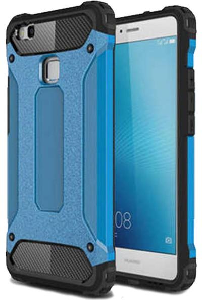 HerBütçeye Huawei P9 Lite Mini Çift Katmanlı Tam Koruma Crash Silikon Kılıf + Maxi Glass Ekran Koruyucu - Mavi