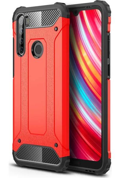 HerBütçeye Xiaomi Redmi Note 8t Çift Katmanlı Tam Koruma Crash Silikon Kılıf - Kırmızı