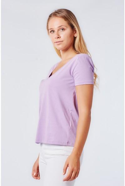 Coral 3505 V Yaka Penye Bluz Lila