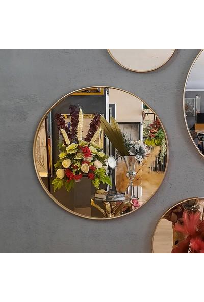 Atl Dekor Dolunay Altın Yuvarlak Ayna 65 cm