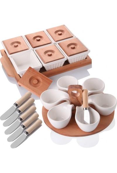 Queen'S Kitchen Ahşaplı Lüx Kahvaltı & Sunum Seti
