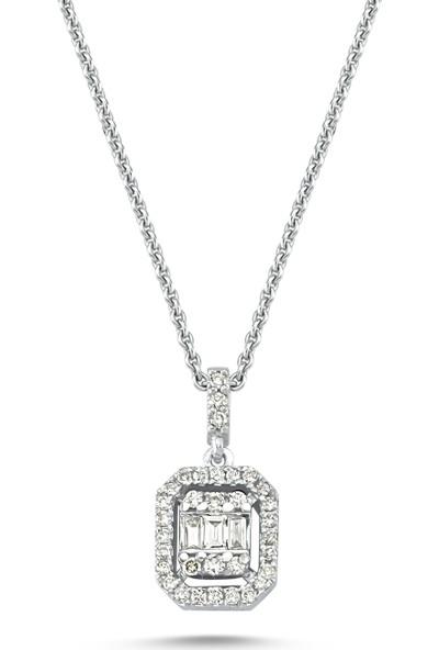Arev Diamond Baget Pırlanta Taşlı Beyaz Altın Kolye YZ02164