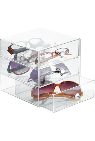 Bosphorus Gözlük ve Kozmetik Organizer 3 Çekmeceli Şeffaf