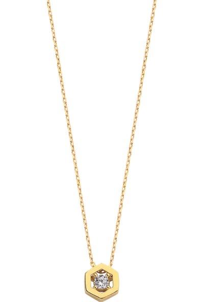 Şakar Gold 14 Ayar Altın Mini Altıgen Kolye