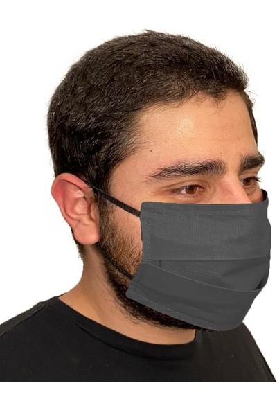 Penguen İstanbul Yıkanabilir Pileli Bez Kumaş Maske - Gri Siyah