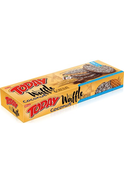 Elvan Today Mini Waffle Çikolata Kaplamalı Hindistan Cevizli 82 gr 6 adet poşet (1 Kutu)