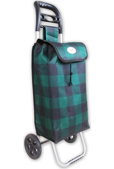 Zucy Iron Plus Pazar Arabası - Yeşil Ekose