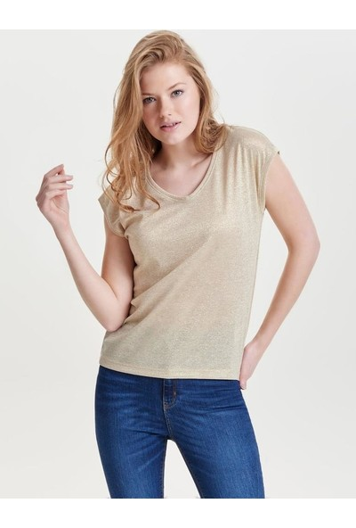 Only 15136069 Kadın Onlsılvery S/S V Neck Lurex Top Jrs Noos Bluz 20Y