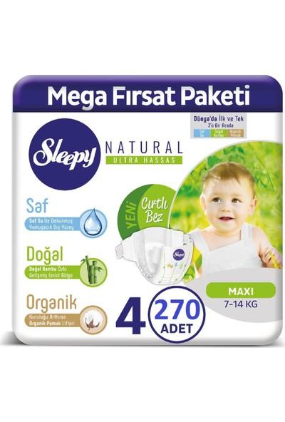 Sleepy Natural Bebek Bezi 2 Aylık Fırsat Paketi 4 Numara 270'LI 7 - 14 kg