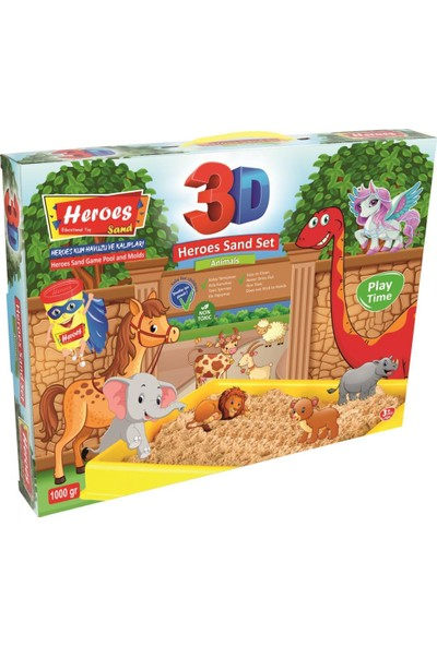 Heroes 3D Kalıplı Çiftlik Hayvanları Kinetik Kum Set 1000 gr KUM-037