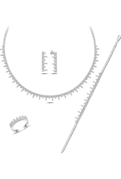 Barış Takı 925 Ayar Gümüş Tarak Pırlanta Montür Su Yolu Bayan Düğün Seti Kolye,bileklik,küpe,yüzük