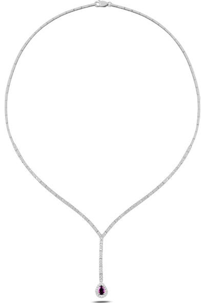 Barış Takı 925 Ayar Gümüş Damla Pırlanta Montür Su Yolu Bayan Düğün Seti Kolye,bileklik,küpe,yüzük