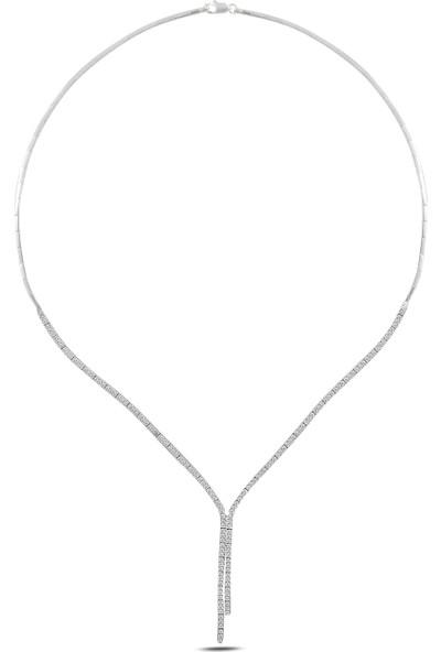 Barış Takı 925 Ayar Gümüş 2 Sıra Salkım Su Yolu Bayan Düğün, Özel Gün Seti Kolye,bileklik,küpe,yüzük