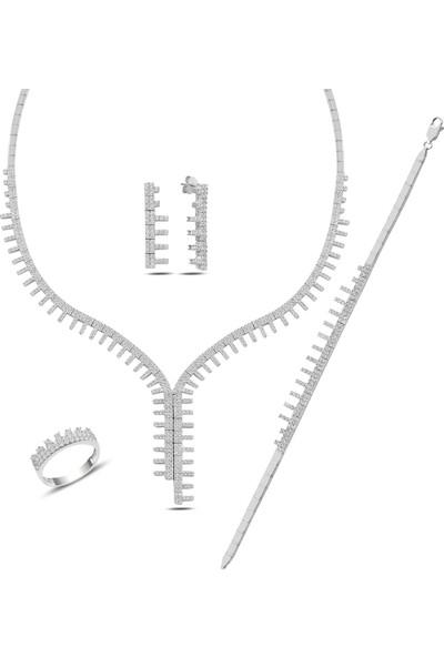 Barış Takı 925 Ayar Gümüş Tarak Salkım Pırlanta Montür Su Yolu Düğün Seti Kolye,bileklik,küpe,yüzük